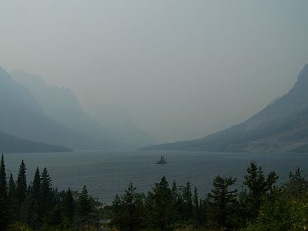 St. Mary Lake on a smoky afternoon
